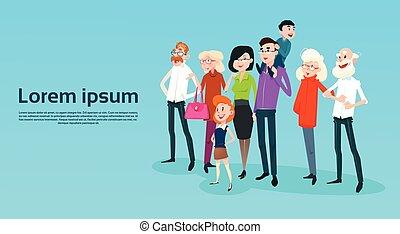 μικρόκοσμος , οικογένεια , μεγάλος , γονείς , παππούς και γιαγιά , ευτυχισμένος