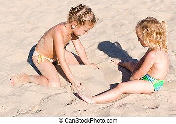 μικρόκοσμος , παραλία , δυο , παίξιμο