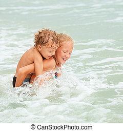 μικρόκοσμος , παραλία , παίξιμο , ευτυχισμένος