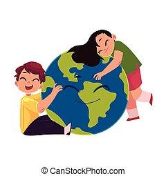 μικρόκοσμος , σφαίρα , χαρακτήρας , αγαπώ , πλανήτης γαία , χαμογελαστά