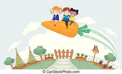 μικρόκοσμος , stickman, κήπος , πύραυλοs , εικόνα , καρότο