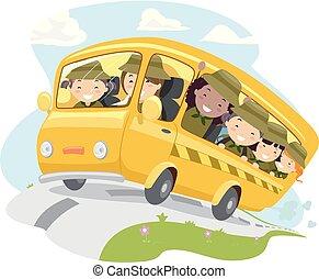 μικρόκοσμος , stickman, λεωφορείο , κατασκηνώνω , εικόνα , ανιχνευτής , κορίτσι