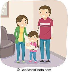 μικρόκοσμος , stickman, οικογένεια , εικόνα , μεταφέρω , μωρό
