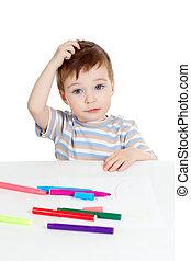 μικρός , αίνιγμα , χρώμα , πάνω , πένα , παιδί , άσπρο