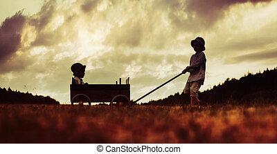 μικρός , αδέλφια , ξύλινος , δυο , άμαξα , παίξιμο