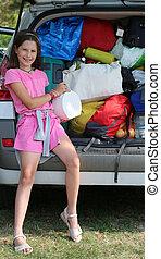 μικρός , αυτήν , αυτοκίνητο , πορτοφόλι , κιβώτιο , άγχος , κορίτσι