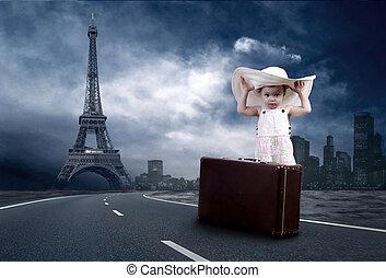 μικρός , αυτήν , κρασί , αποσκευές , αναμονή , κορίτσι , ...