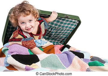 μικρός , βαλίτσα , κορίτσι , κάθονται