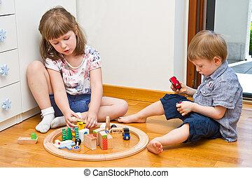 μικρός , δωμάτιο , ξύλινος , παίξιμο , τρένο , παιδιά