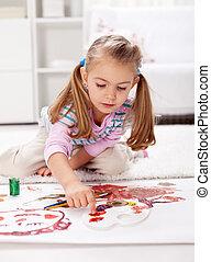 μικρός , ζωγραφική , κορίτσι , δάκτυλο