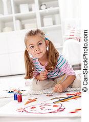 μικρός , ζωγραφική , κορίτσι , καλλιτέχνηs
