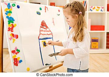 μικρός , ζωγραφική , κορίτσι