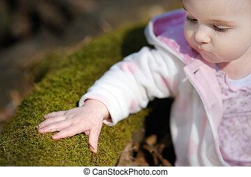 μικρός , κάθονται , άνοιξη , δάσοs , βρέφος δεσποινάριο