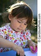 μικρός , κήπος , κορίτσι , παίξιμο