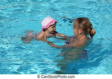 μικρός , κολύμπι , κόρη , κερδοσκοπικός συνεταιρισμός , μητέρα