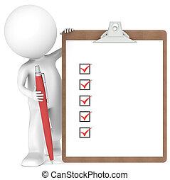 μικρός , κράτημα , χαρακτήρας , πένα , clipboard , ανθρώπινος , 3d