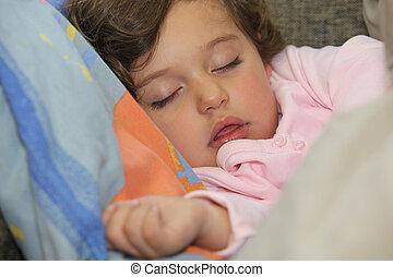 μικρός , λατρευτός , κορίτσι , κοιμάται