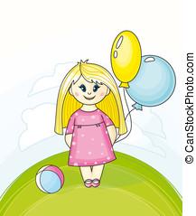 μικρός , μπαλόνι , κορίτσι