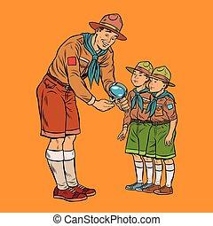 μικρός , νέος , έντομο , ανιχνευτής , scoutmaster, αποδεικνύω