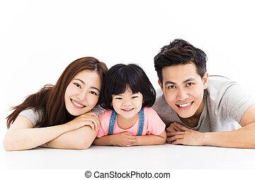μικρός , οικογένεια , πάτωμα , κορίτσι , παίξιμο , ευτυχισμένος
