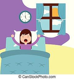 μικρός , πάνω , κρεβάτι , πρωί , αγρυπνία , κορίτσι