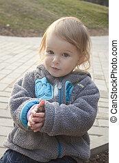 μικρός , πάρκο , κορίτσι , παίξιμο