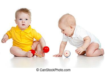μικρός , παιδιά , με , μιούζικαλ , toys., απομονωμένος , αναμμένος αγαθός , φόντο
