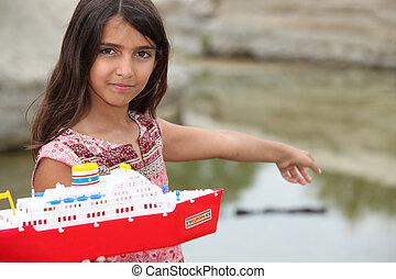 μικρός , παιχνίδι , κορίτσι , βάρκα , παίξιμο