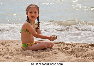 μικρός , παραλία , κορίτσι