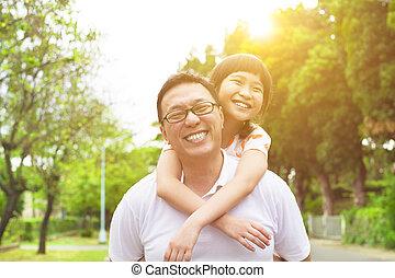 μικρός , πατέραs , κορίτσι , ευτυχισμένος