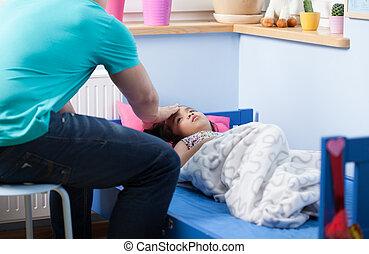 μικρός , πυρετόs , κορίτσι , κρεβάτι