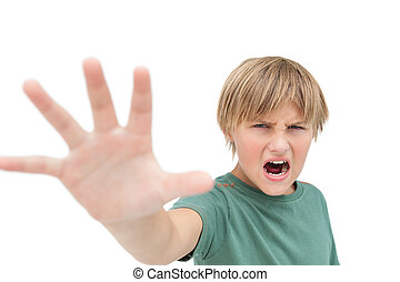 μικρός , σήμα , κατασκευή , κραυγές , αγόρι , σταματώ , χέρι , ακράτητος