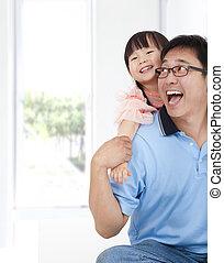 μικρός , τρόπος ζωής , οικογένεια , πατέραs , girl., ευτυχισμένος