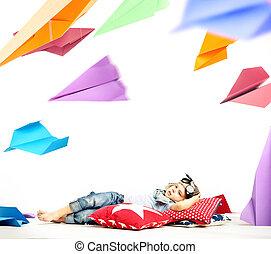 μικρός , χαρτί , αφθονία , αεροπλάνον , παρατηρητικός , πιλότοs