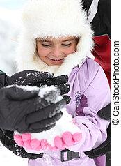 μικρός , χιόνι , κορίτσι , παίξιμο