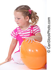 μικρός , balloon, κορίτσι , παίξιμο