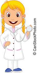 μικρός , c , κορίτσι , κουραστικός , γελοιογραφία , νοσοκόμα