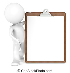 μικρός , clipboard , χαρακτήρας , ανθρώπινος , 3d