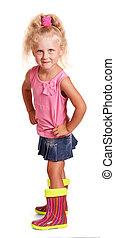 μικρός , isolated., κορίτσι , διαβολικός , μπότεs , ξανθή , ...