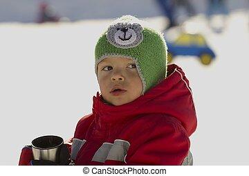 μικρός , skier.