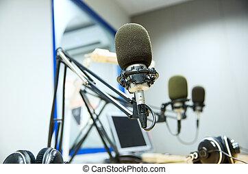 μικρόφωνο , αναγραφή , θέση , στούντιο , ραδιόφωνο , ή