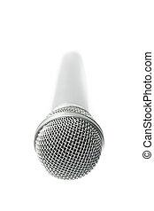 μικρόφωνο , επάνω , ένα , άσπρο , φόντο. , isolated.