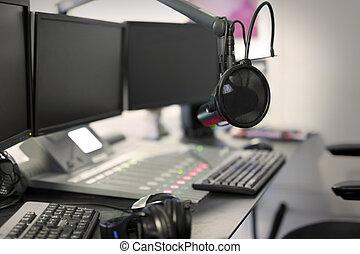 μικρόφωνο , μοντέρνος , εκφώνηση , θέση , ραδιόφωνο , στούντιο
