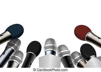 μικρόφωνο , συνέδριο , πιέζω