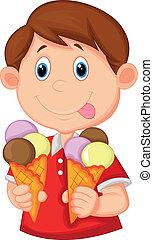 μικρό αγόρι , γελοιογραφία , με , παγωτό