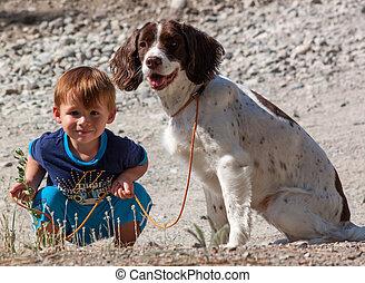 μικρό , αγόρι , δικός του , dog.