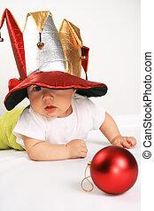 μικρό , αγόρι , καπέλο , αστειολόγος