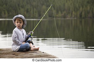 μικρό , αγόρι , μακριά , ψάρεμα , αποβάθρα