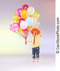 μικρό , αγόρι , μπαλόνι , κράτημα , μπουκέτο