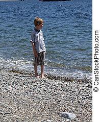 μικρό , αγόρι , παραλία